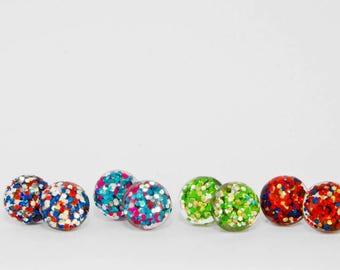 Resin stud,  resin earrings,  glitter earrings,  statement stud,  statement earrings,  fun earrings,  glitter earrings