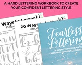 Fearless Lettering Workbook E-BOOK, Learn hand lettering, ipad lettering, brush lettering practice sheets