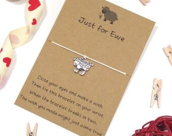 sheep bracelet, wish bracelet, sheep wish bracelet, friendship bracelet, charm bracelet, sheep jewelley, string bracelet, cord bracelet