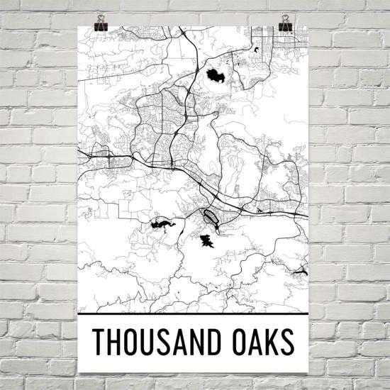 Sofa You Love Thousand Oaks: Thousand Oaks Map Thousand Oaks Art Thousand Oaks Print