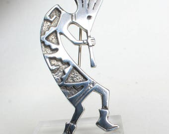 Kokopelli Pin Brooch Sterling Silver Navajo Indian Native American Anasazi