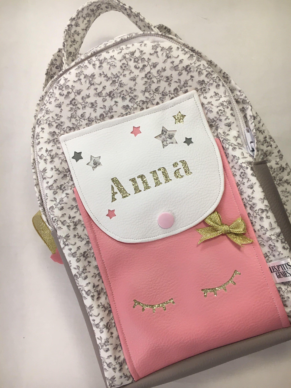 Kindergarten backpack look personalized custom pink, grey, Golden ...