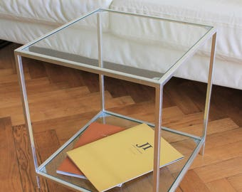 Side Table. Bedside Table. Glass Top. Small table. Tier Table