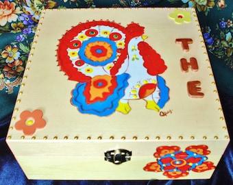 Tea box, box, tea box with compartments, wood box, colors of the Russia.