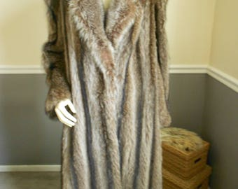 Raccoon Fur Coat / Genuine Raccoon Full Length Fur Coat