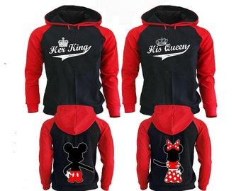 His Queen Her King Hoodie, Couple Hoodies King And Queen, Disney Couple Hoodies, Pärchen Pullover Couple Hoodies Mickey, Couple Sweatshirt