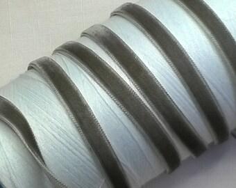 Ribbon VELVET grey 7mm polyester single side