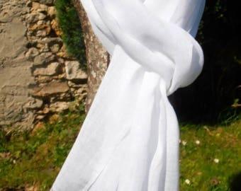 ECHARPE FOULARD CHEICH 100 % lin blanc lavé et frangé 200 X 60 cm