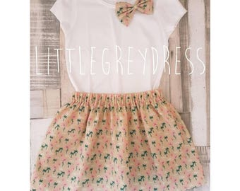 Flamingo Skirt & Bow