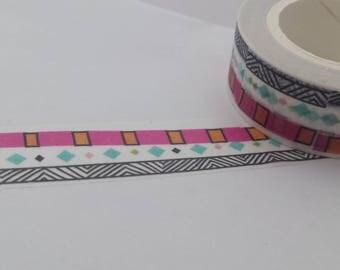 Geometric Washi Tape//Pink//Black & White//Stripes//Squares
