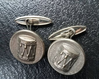 Antique Button Style Cufflinks Military Drum Major Super Dapper Marching Band Nice Style Patina