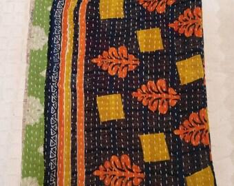 Reversible Handmade Kantha Quilt, ethnic Boho Bedding, Bohemian Gudari, Kantha curtain, Kantha throw