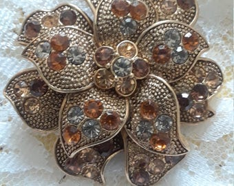Liz Claiborne Flower Rhinestone Pin Brooch Signed LC