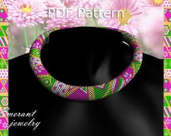 beaded jewelry patterns Bead crochet necklace pattern master Class jewelry Crochet Rope Pattern necklace PDF tutorial seed beads patchwork