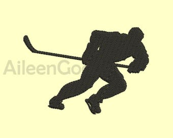 Hockey Silhouette Embroidery design 6 Size  INSTANT download machine embroidery