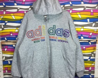 Rare!! Vintage ADIDAS TREFOIL Sweatshirt Hoodie Mutlicolour Spellout Nice Design