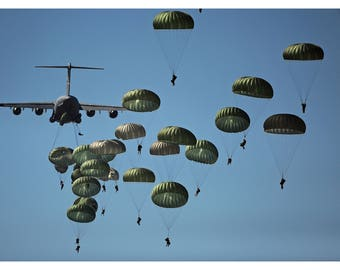 Paratroopers, US Army 82nd Airborne Division; Custom Photo Poster