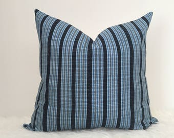 Aro - Indigo Blue Striped Vintage African Cloth Aso-Oke Pillow, High Quality Italian Linen Back Fabric, Mud Cloth Style