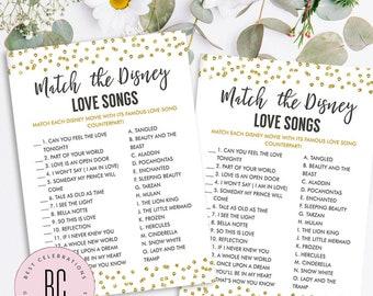 Disney Bridal Shower Games, Match the Disney Love Songs Game, Bridal Shower Game, Wedding Shower Games, Gold Confetti, Glitter