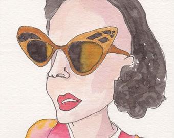 Butterfly Glasses Face. Fine Art, Watercolor Painting, Gift Art, Small Art, Watercolor, Painting