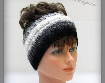 Black And White Knit Headband, Ponytail Headband Or Messy Bun Headband, Wide Winter Headband, Earwarmer, Knit Headband
