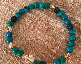 OOAK azurite Chrysokroll Scarab Bracelet