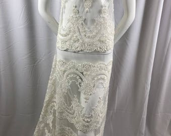 Lace Fabric Beaded Trim Sewing Ivory Trimming Edge Embroidered Wedding Craft Bridal Veil By The Yard
