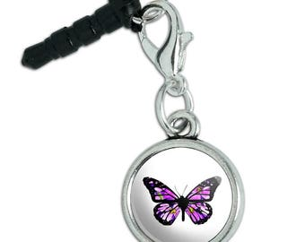 Butterfly with Flowers Mobile Cell Phone Headphone Jack Anti-Dust Charm fits iPhone iPod Galaxy