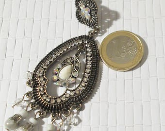 Pendant mono Earring with rhinestones