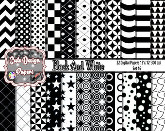 Black and White Digital Papers 12x12, Black and White Backgrounds, digital paper for scrap book, invitations, blogs