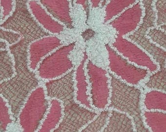 "45"" width, PINK floral lace material,  accent polyester, acrylic embossed fabric, stretched fabric, puffed lace, lace fabric, net, lacey"