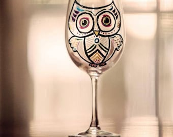 Owl get you a drink Wine Glass