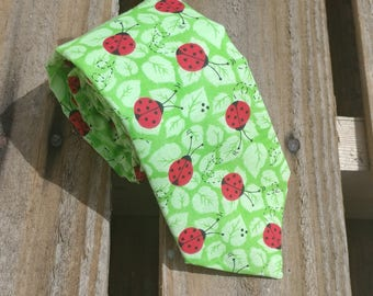 Ladybugs on Leaves, Ladybird Necktie, Leaf Necktie, Green Necktie, Nature Necktie, Bug Necktie, Beetle Necktie, Insect Necktie