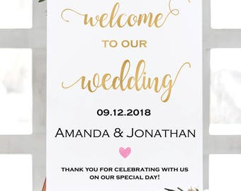 Gold Welcome Wedding Printable - Welcome To Our Wedding Sign - Gold Wedding Sign - Welcome Sign PDF  - Downloadable wedding #WDH765GL