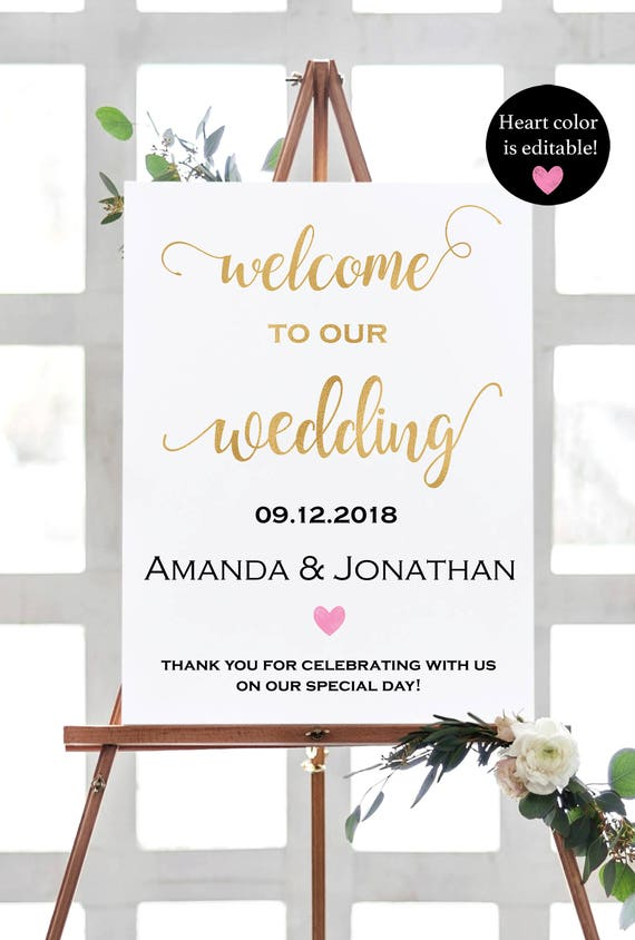 Gold  Welcome To Our Wedding Sign Template