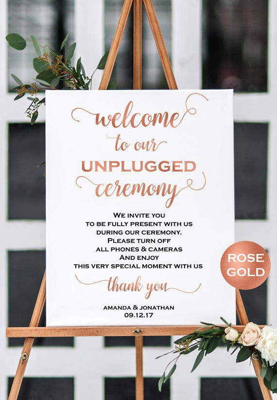 welcome to our unplugged wedding sign no cell phones sign wedding ceremony sign rose gold. Black Bedroom Furniture Sets. Home Design Ideas