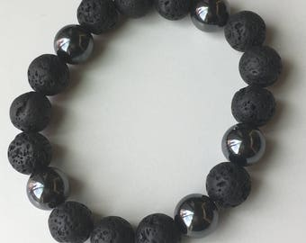 Mens Lava Bead Oil Diffusing Stretch Bracelet!
