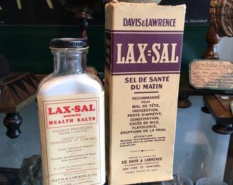 Medicine Vintage Lax Sal bottle and original box