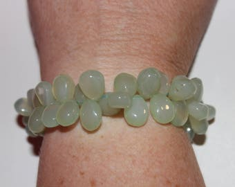 Hand Made Very Elegant Green Chalcedony Bracelet