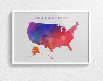 United States of America - Poster - Watercolor Map, USA Map, US, Gift, Wall Decor, Wall Hanging, Wall Art, Home Decor, Watercolour