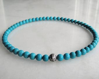 Genuine turquoise necklace with sterling silver bead / Turquoise beaded necklace Bali silver green blue necklace turquoise stone necklace