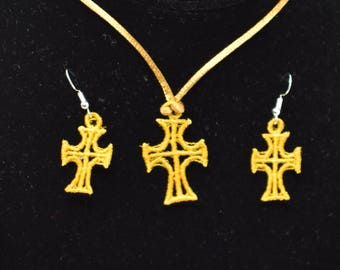 Cross Pendant and Earrings