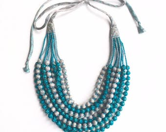 Exclusive, one-of-kind, 12 String Statement Sari Necklace - Turquoise/Silver Grey