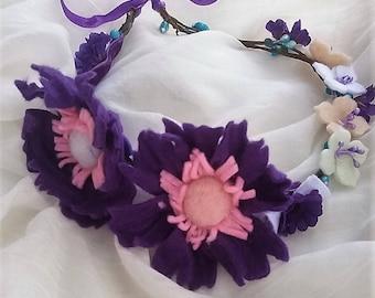 Purple hair crown  Hair accessory Hair wreath, bridal flower crown, girls boho headbands, bridesmaid hair flowers, girl headband  flower