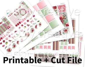 Watercolor Marsala Floral + Birds - Weekly Sticker Kit Printable for Erin Condren Horizontal - HWK-053 - INSTANT DOWNLOAD