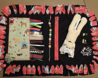Fidget quilt sensory activity fleece mat Dementia Alzheimer Nursing Home Dog theme