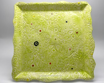 Ceramic dinner plate - square plate - paisley pattern - polka dots - handmade in Scotland - lime green - crockery