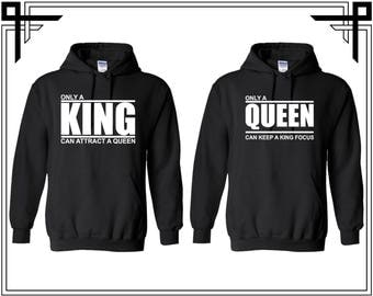 King Queen Couple Hoodie King And Queen Hoodie Couple Hoodies Hooded Sweatshirt Party Valentines Day Gift For Couples Gift For Him And Her