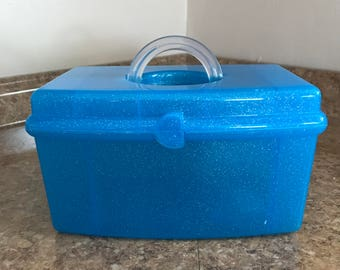Vintage Caboodles 1990's Makeup Organizer Case Sky Blue with Glitter Travel Case Jewelry Storage Craft Storage Excellent Condition