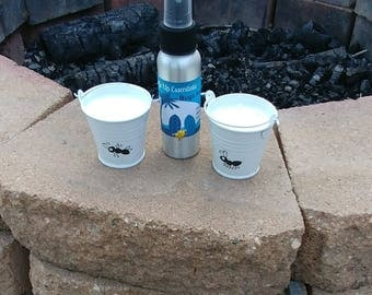 Bug repellent and 2 citronella candles